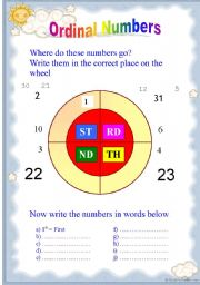 English Worksheet: Ordinal Numbers