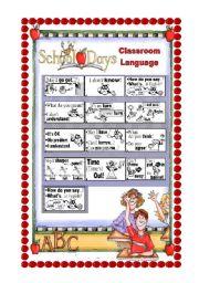 English Worksheet: Classroom Language Poster