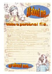 English Worksheet: ALL ABOUT ME - 1