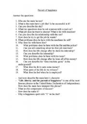English Worksheet: a pursuit of happYness