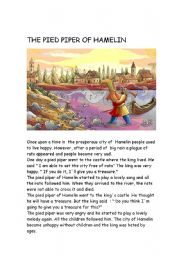 English Worksheets: THE PIED PIPER OF HAMELIN