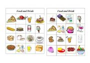 English Worksheet: Bingo Food and Drink ( 1 of 8 )