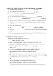 English Worksheets: Exercise for