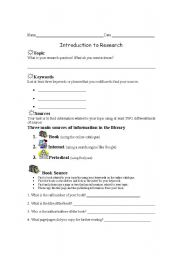 English Worksheets: Introduction to research