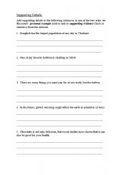 English Worksheets: Supporting Details