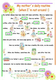 English Worksheet: Vocabulary Daily Routine (3rd Person)