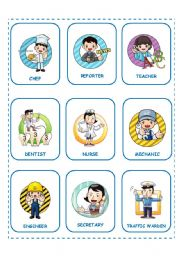 English Worksheet: CARDS JOBS AND PROFESSIONS (25.08.08)