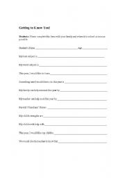 English Worksheets: Getting to know you!