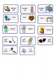 English Worksheet: Sport Equipment Domino ( 2 o f 4 )