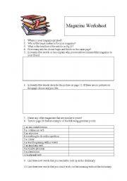 English Worksheets: Magazine Worksheet