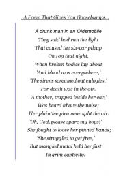 English Worksheet: A Poem that gives you Goosebumps
