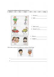 English Worksheets: Adjective writing practice elementary