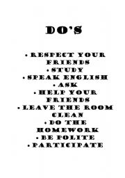 English Worksheets: Do�s for classroom management