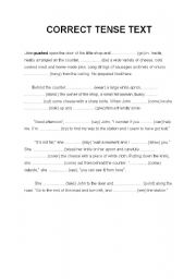 English Worksheet: choose the correct tense in order to complete the sentences (text)