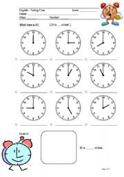 English Worksheet: Worksheet (Telling Time 1)