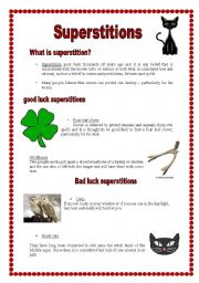 English Worksheet: Superstitions (26.08.08)