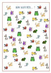 English Worksheets: hOW MANY PETS ?