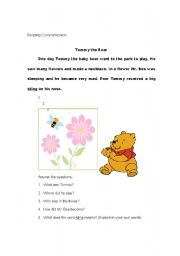 English Worksheets: Reading Comprehension: Tommy the Bear
