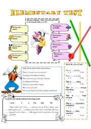 English Worksheets: ELEMENTARY TEST