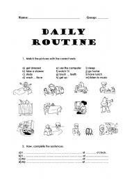 English Worksheet: Daily routine
