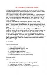 English Worksheet: an expedition to save the planet