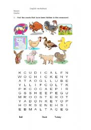 English Worksheets: Words animals