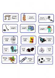 English Worksheet: sport equipment domino ( 1 of 6 )
