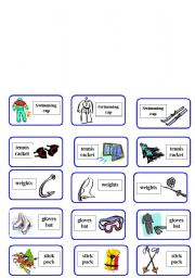 English Worksheet: sport equipment domino ( 2 of 6 )