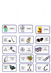 English Worksheet: sport equipment domino ( 3 of 6 )