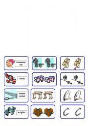 English Worksheet: sport equipment domino ( 4 of 6 )