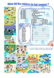 English Worksheet: what did the children do last summer ? -2-