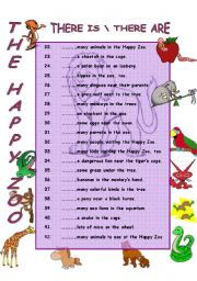 English Worksheets: THERE ARE THERE IS - The Happy Zoo
