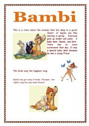 English Worksheets: Bambi Part one       3 pages