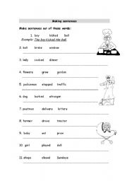 making sentences - worksheet by elaineabela1