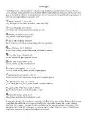 English worksheet: Signs of Zodiac