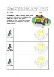 English worksheet: Holiday Diary