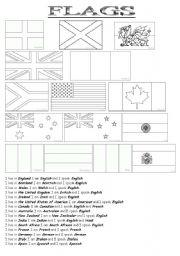 English Worksheet: English speaking countries : Flags