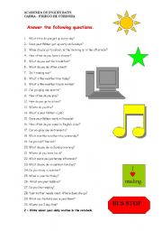 English Worksheets: Answer these questions