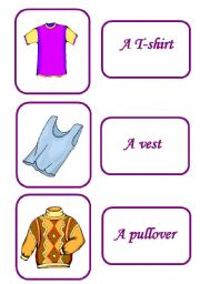 English Worksheets: clothes memory game 1 / 12