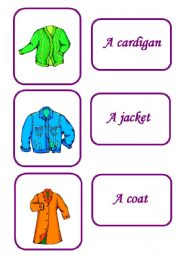 English Worksheets: clothes memory game 2/ 12