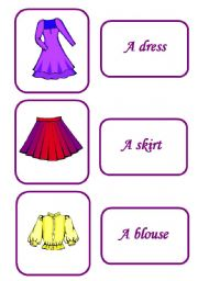 English Worksheets: clothes memory game 3/ 12