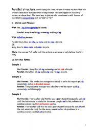 English worksheets: Parallel Structure