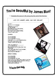 English Worksheet: song: You�re beautiful by James Blunt