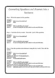 English Worksheets: Converting questions and answers into a sentence