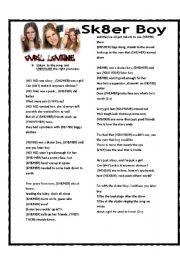 English Worksheets: SONG: SK8ER BOY - AVRIL LAVIGNE - PRONOUNS