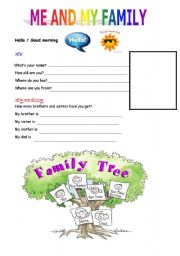 Me and my family - worksheet by emcaux