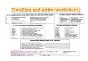 English Worksheets: Dwelling and attire around the world question sheet