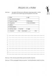 English Worksheets: Filling in a form
