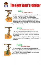 English Worksheets: The eight Santa�s reindeer