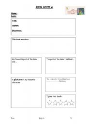 English Worksheet: Writing a Book Review Planner